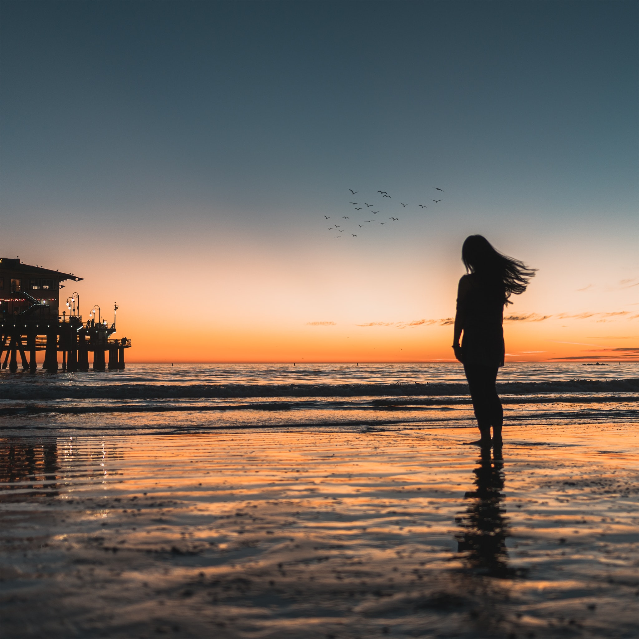 The silhouette of a woman walking out into the ocean as a metaphor for transition and optimism